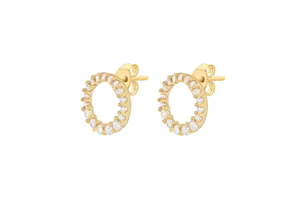 9ct Gold Open CZ Halo Earrings - Diana O'Mahony Jewellers