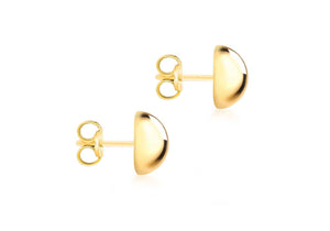 9ct Gold 12mm Plain Domed Earrings - Diana O'Mahony Jewellers