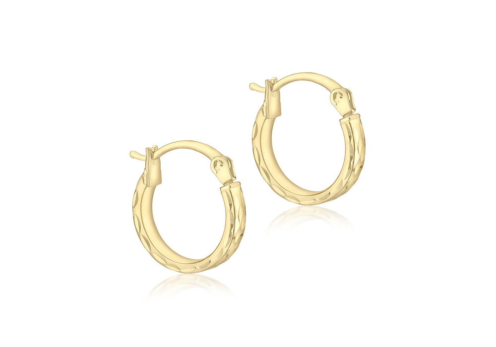 9ct Yellow Gold 12mm Diamond-cut Hoop Earring
