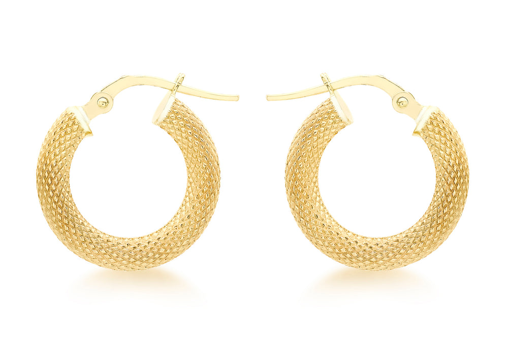9ct Yellow Gold 15mm Diamond-cut Hoop Earrings