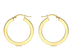 Load image into Gallery viewer, 9ct Yellow Gold 26mm Flat Hoop Earrings