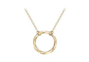 9ct Yellow Gold Diamond-cut Open Circle Necklace
