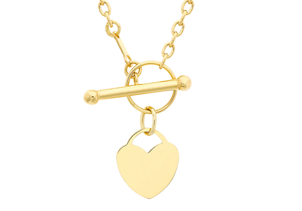 9ct Yellow Gold Heart & T-Bar Necklace