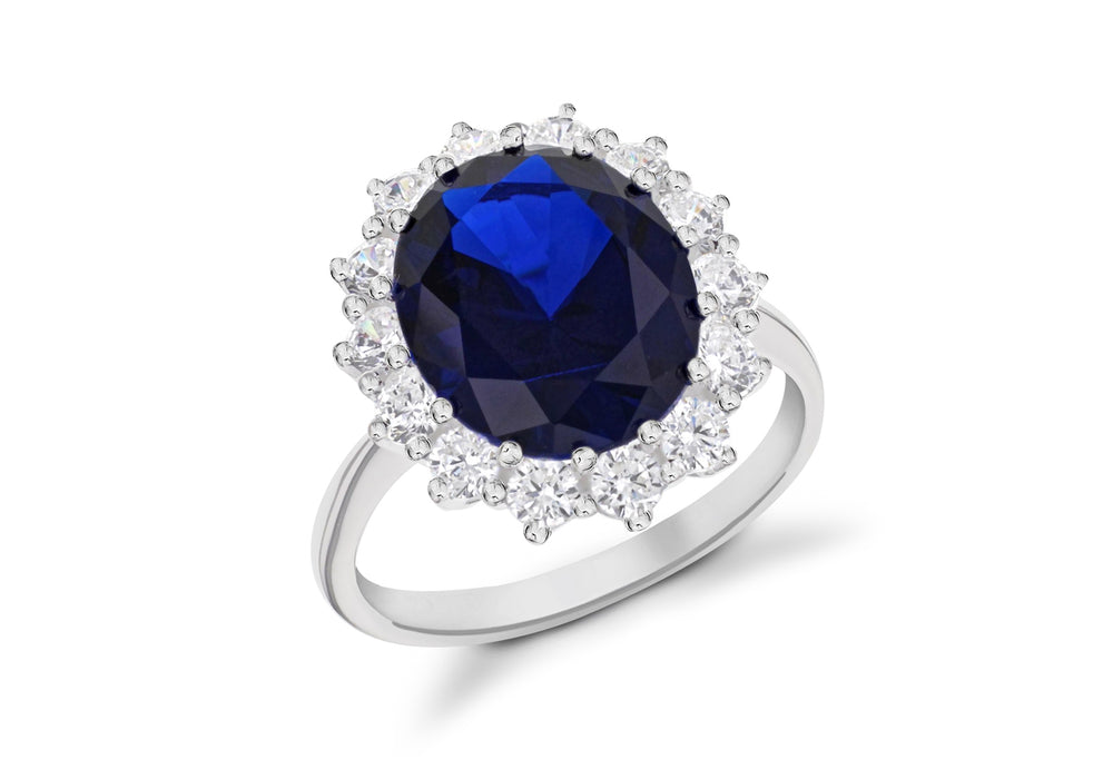 Sterling Silver Oval Sapphire Blue CZ Kate Middleton Cluster Ring