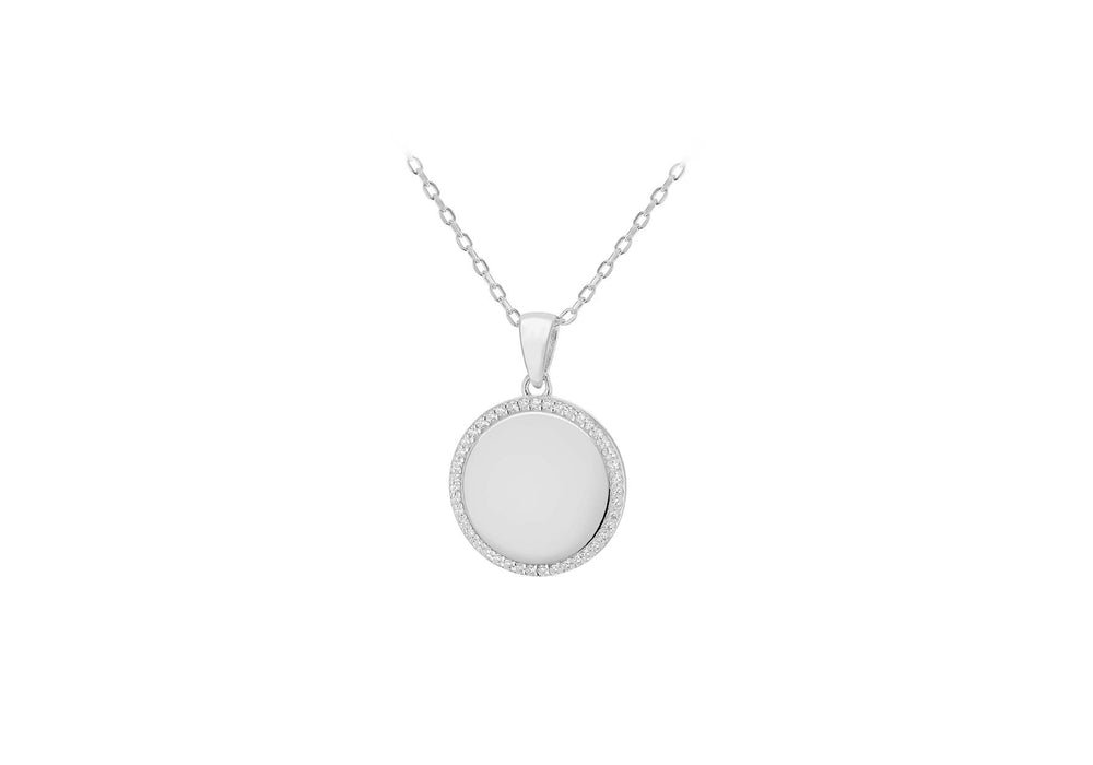 Sterling Silver Circular Disc Pendant with CZ Halo Cluster