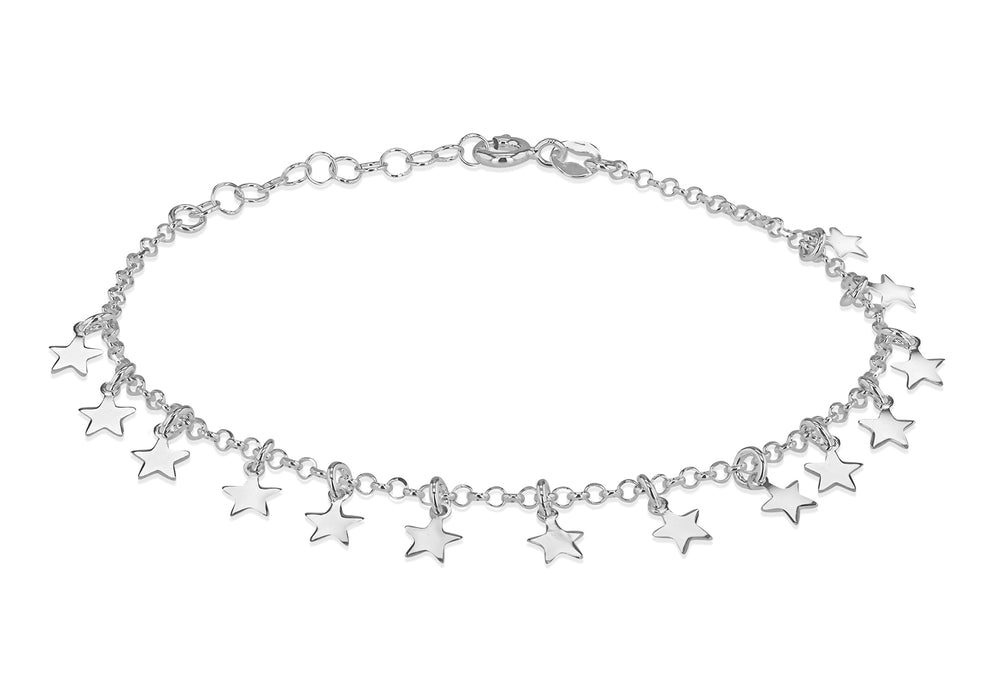 Sterling Silver Dangly Star Bracelet