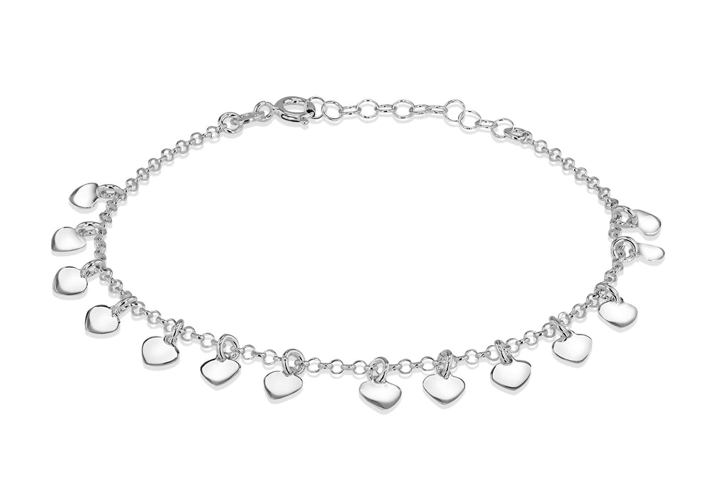Sterling Silver Dangly Heart Bracelet