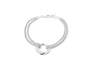 Sterling Silver Interlinked Rings Bracelet