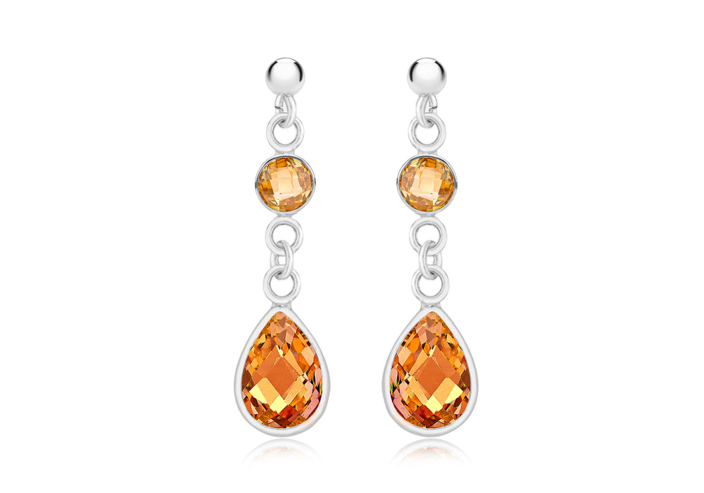 Sterling Silver Champagne CZ Drop Earrings