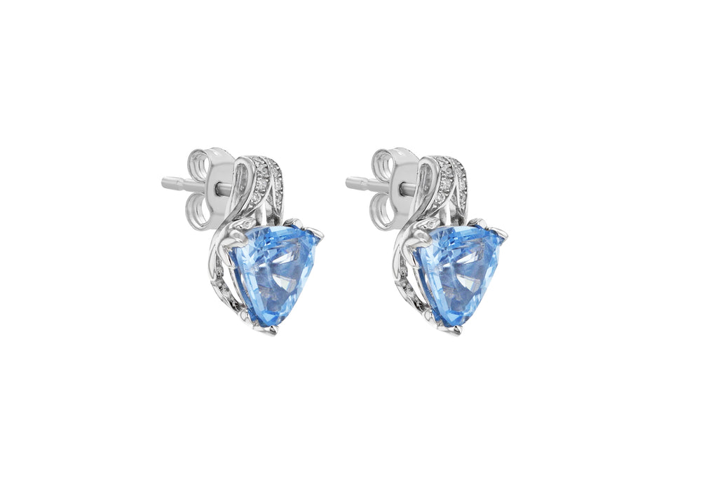 Load image into Gallery viewer, Sterling Silver White & Blue CZ Stud Earrings