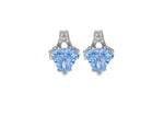Sterling Silver White & Blue CZ Stud Earrings