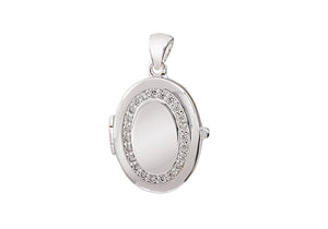 Sterling Silver Oval Locket with CZ Surround