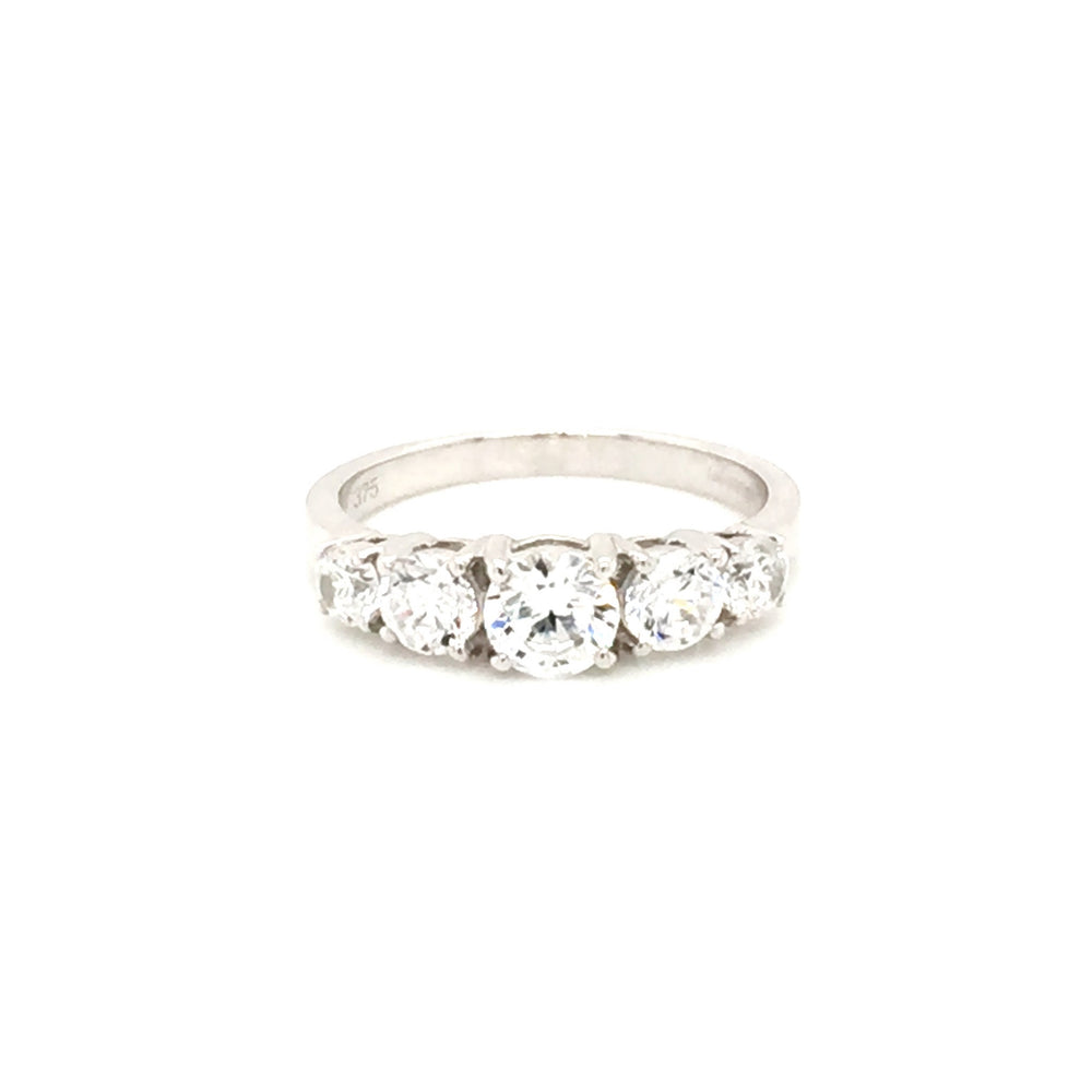 9ct White Gold Graduated Five Stone Cubic Zirconia Ring
