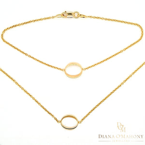 9ct Yellow Gold Open Oval Necklace & Bracelet Set