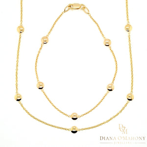 9ct Yellow Gold Round Button Necklace & Bracelet Set