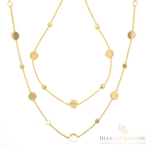 9ct Yellow Gold Round Disc Necklace & Bracelet Set
