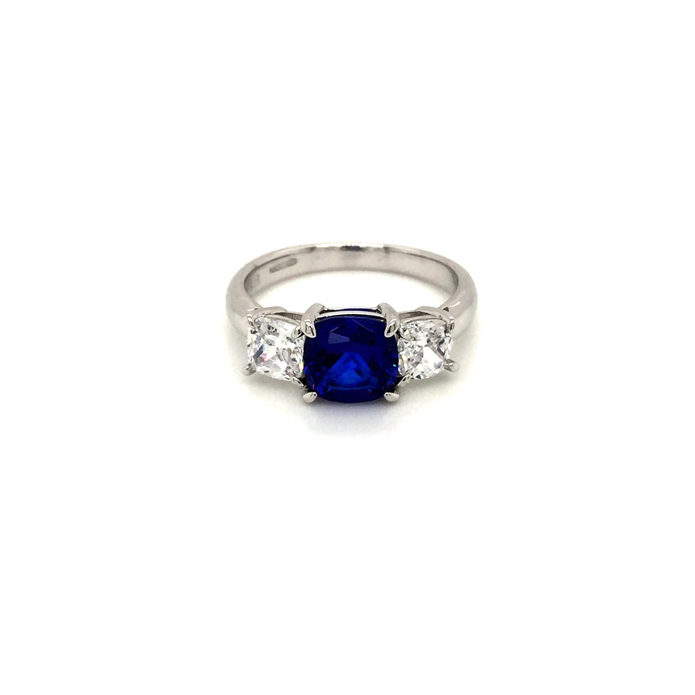 Sterling Silver Three Stone Sapphire Blue CZ Ring - Diana O'Mahony Jewellers
