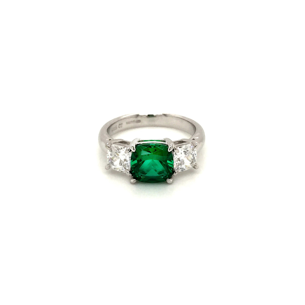 Sterling Silver Three Stone Emerald Green CZ Ring