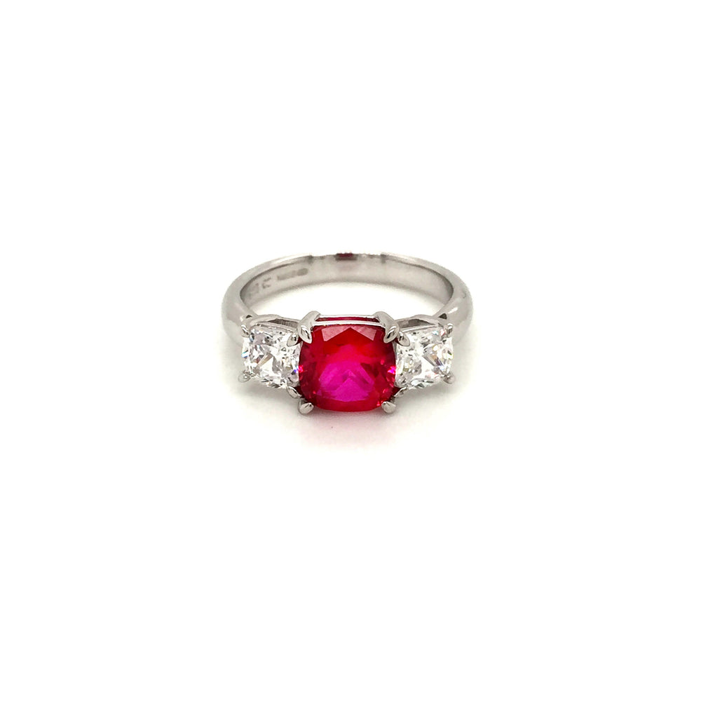 Sterling Silver Three Stone Ruby Red CZ Ring