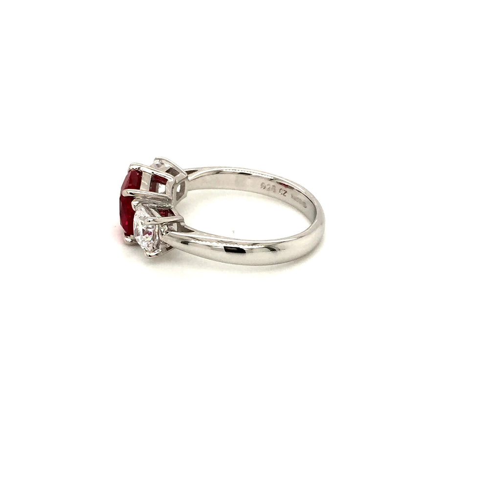 Sterling Silver Three Stone Ruby Red CZ Ring - Diana O'Mahony Jewellers