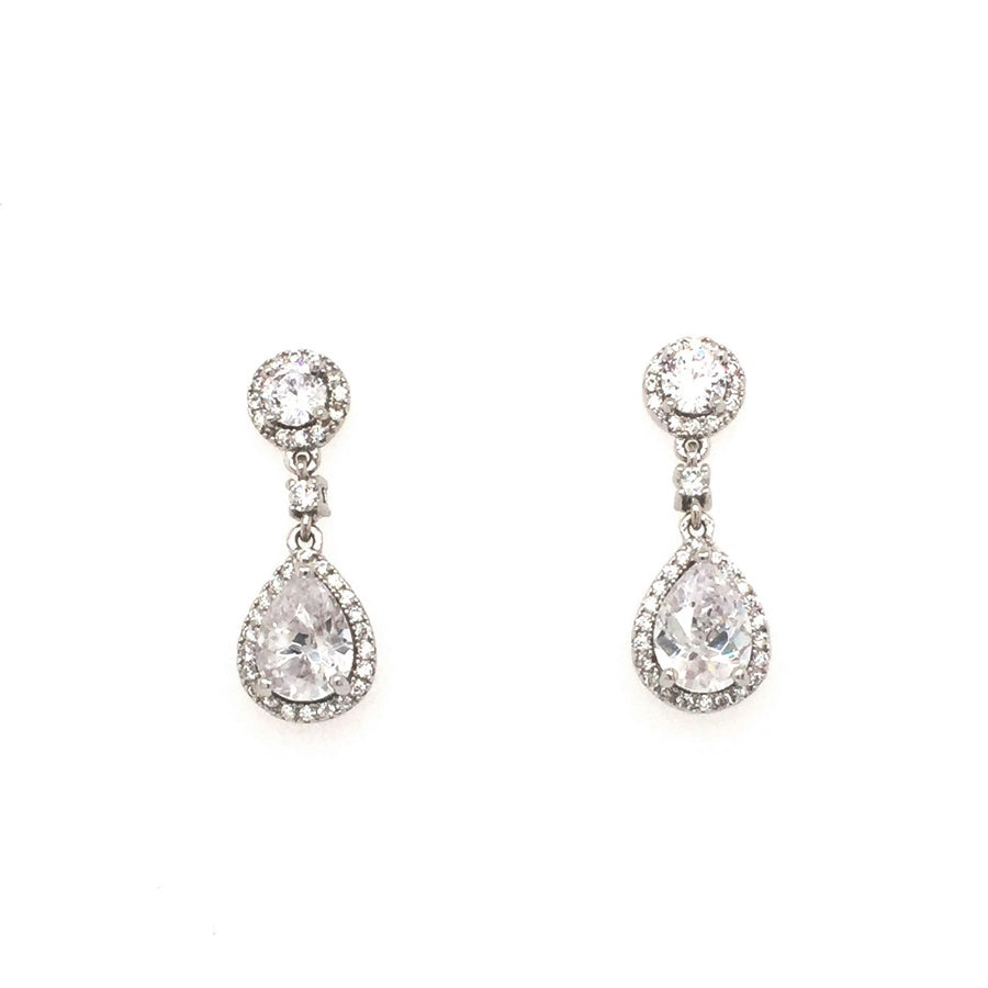 Sterling Silver Vintage Style Round and Teardrop Cluster Bridal CZ Earrings