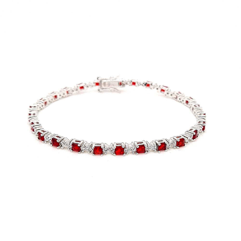 Load image into Gallery viewer, Sterling Silver Ruby CZ Tennis Bracelet