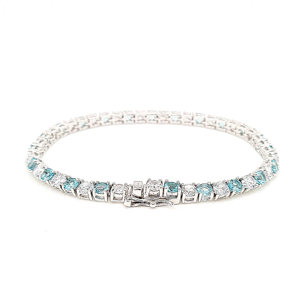 Load image into Gallery viewer, Sterling Silver Aquamarine Cubic Zirconia Bracelet