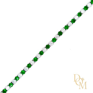 Load image into Gallery viewer, Sterling Silver Emerald CZ Tennis Bracelet