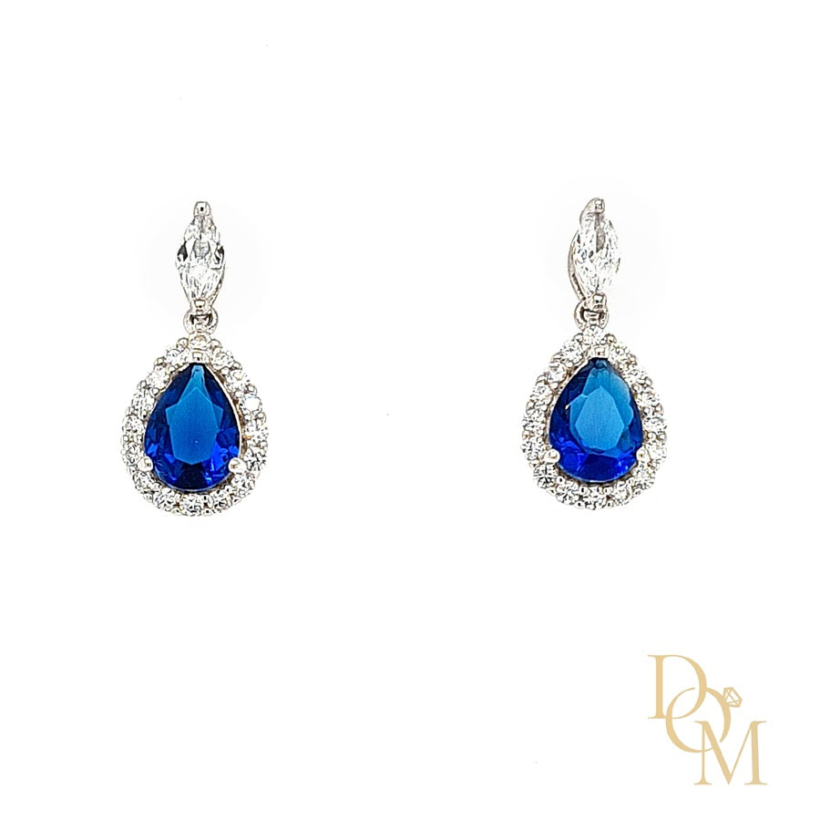 Load image into Gallery viewer, Sterling Silver Sapphire Blue CZ Cluster Drop Earrings