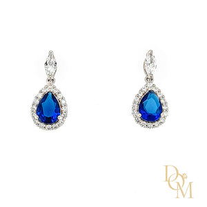 Sterling Silver Sapphire Blue CZ Cluster Drop Earrings