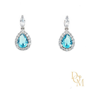 Sterling Silver Aquamarine Blue CZ Cluster Drop Earrings