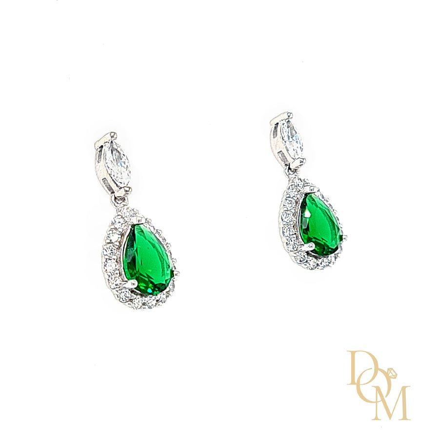 Load image into Gallery viewer, Sterling Silver Emerald Green CZ Cluster Drop Earrings