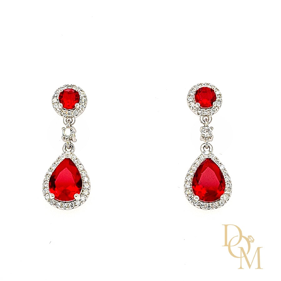 Sterling Silver Ruby Red CZ Cluster Drop Earrings