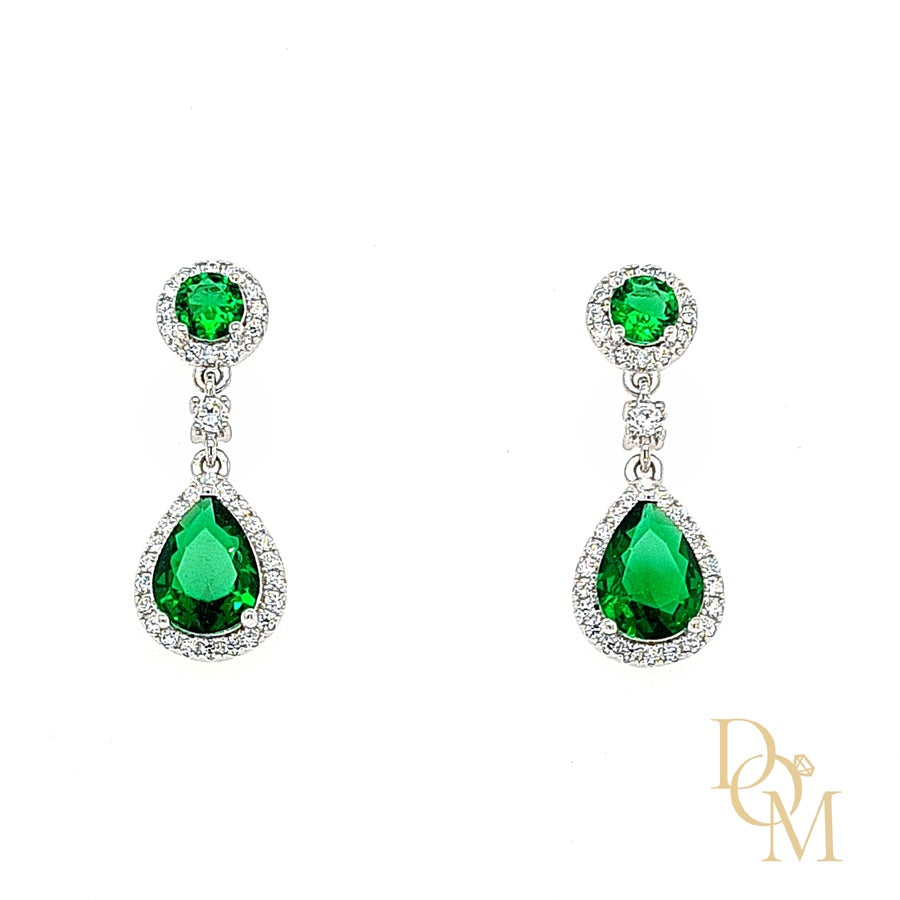Sterling Silver Emerald Green CZ Cluster Drop Earrings