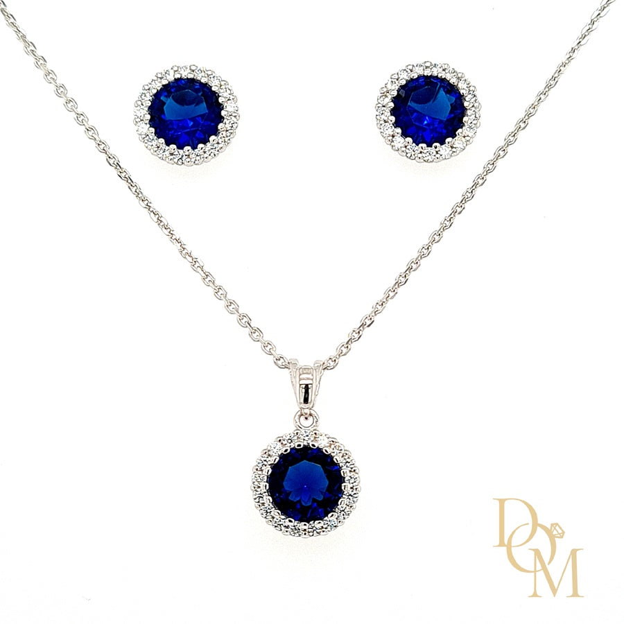 Sterling Silver Sapphire Blue CZ Cluster Pendant & Earrings Set