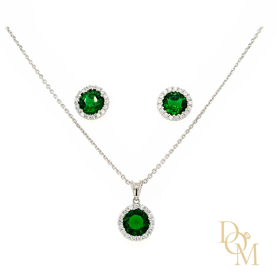Sterling Silver Emerald Green CZ Cluster Pendant & Earrings Set