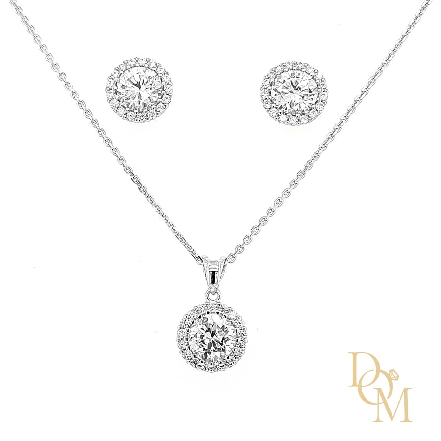 Sterling Silver CZ Cluster Pendant & Earrings Set