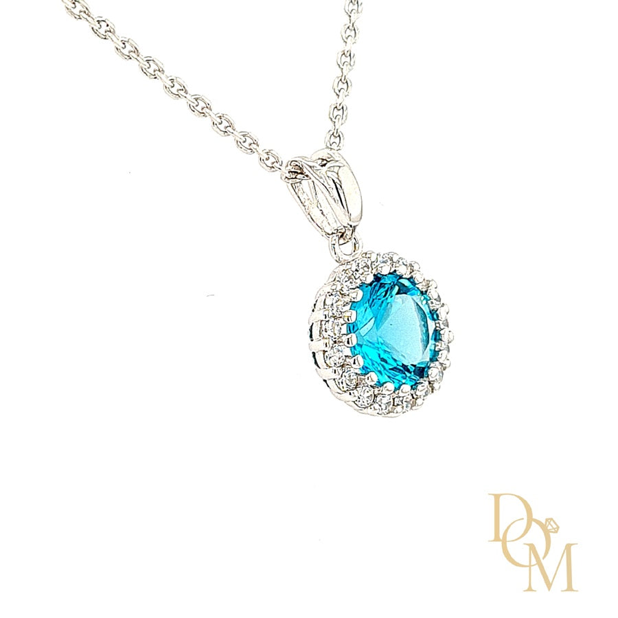 Sterling Silver Aquamarine Blue CZ Cluster Pendant & Earrings Set