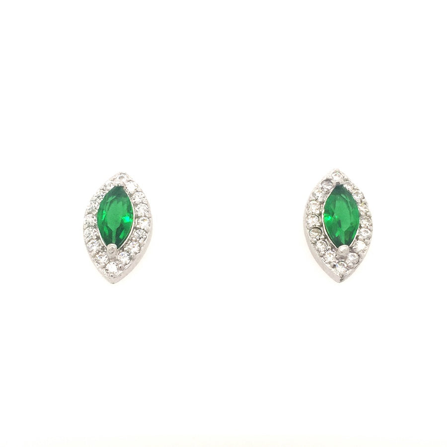 Sterling Silver Emerald Green Marquise Shaped CZ Cluster Earrings