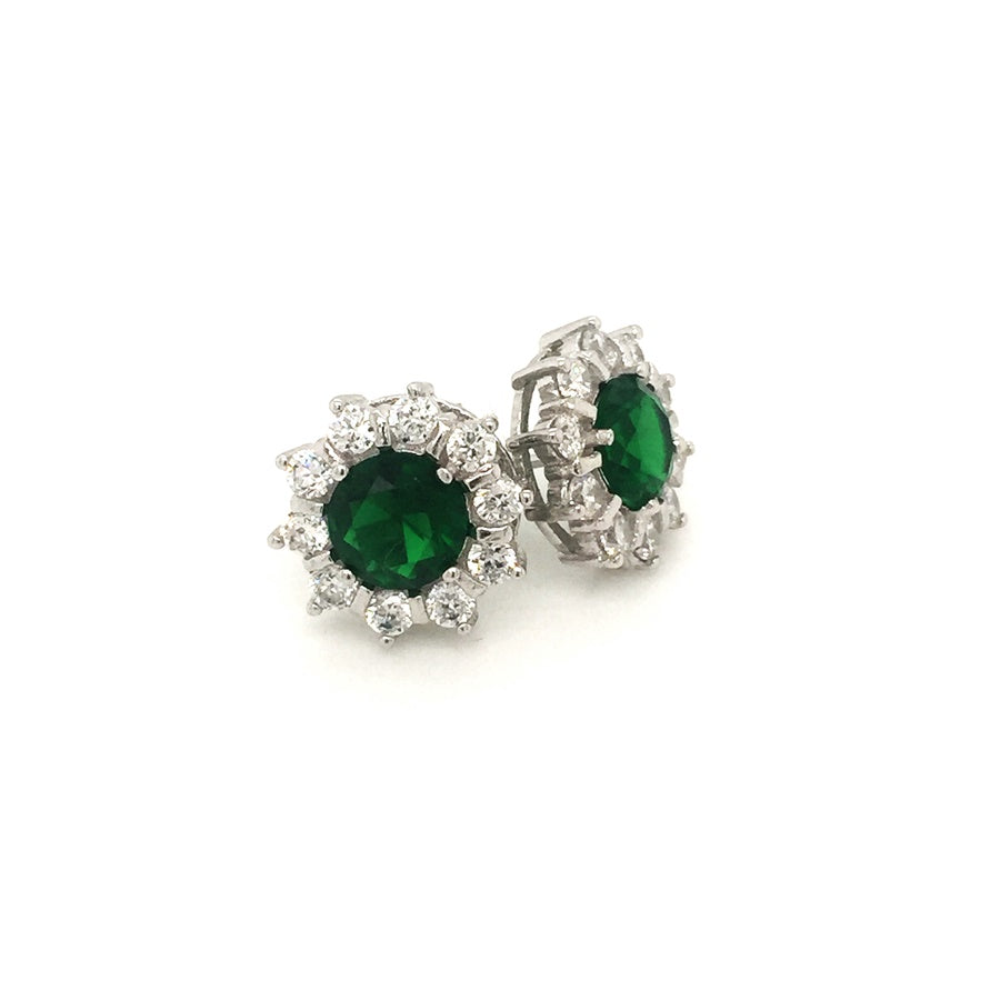 Sterling Silver Emerald Green Round CZ Cluster Earrings