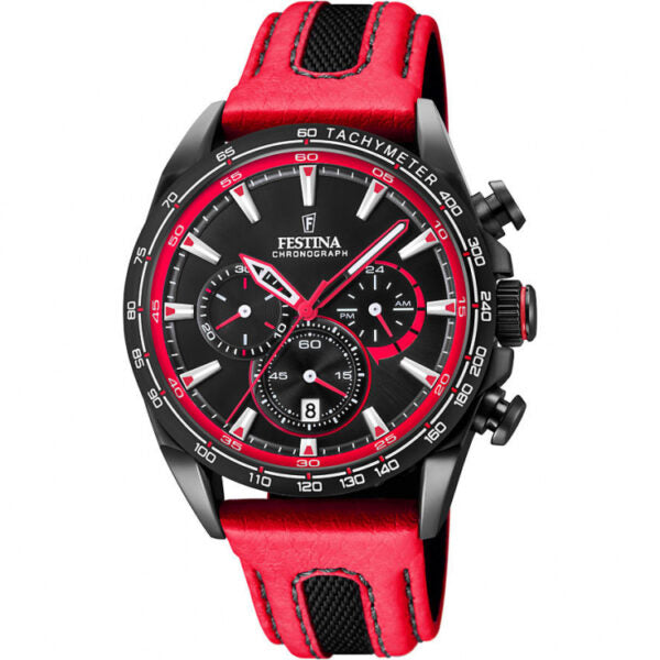 Gents Festina Red Leather Chronograph Watch