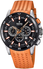 Gents Festina Orange Strapped Chronograph Watch