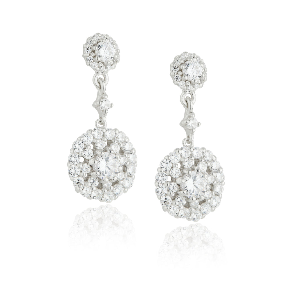 Paul Costelloe Jewellery Sterling Silver Vintage Style Drop Cluster CZ Earrings Bridal PC3022 - Diana O'Mahony Jewellers