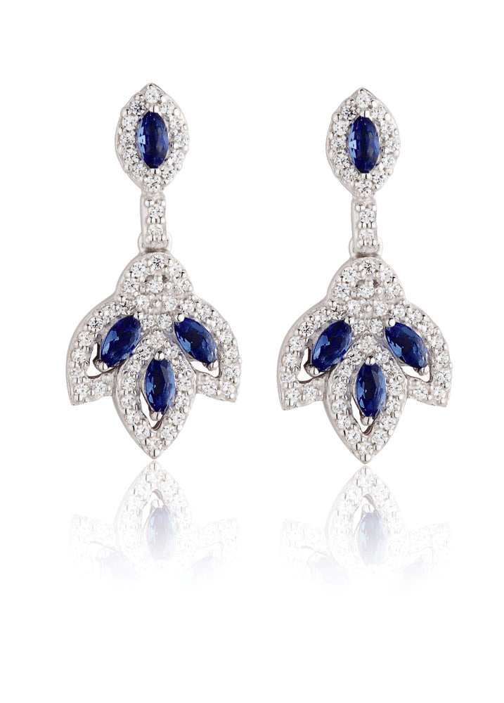 Paul Costelloe Jewellery Sterling Silver Vintage Style Sapphire CZ Drop Earrings PC3037 - Diana O'Mahony Jewellers