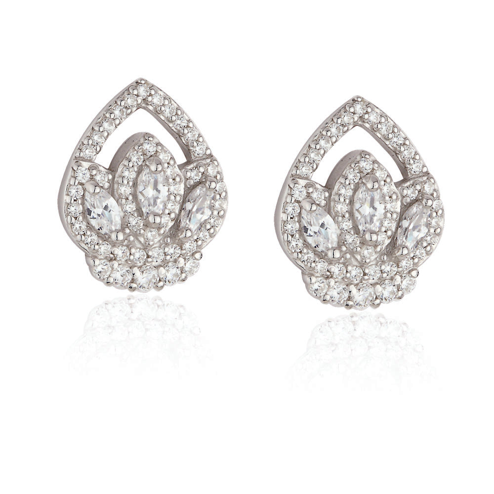 Paul Costelloe Jewellery Sterling Silver Vintage Style Cluster Stud CZ Crystal Bridal Earring PC3043