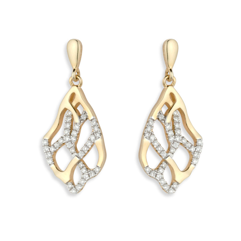 Paul Costelloe Jewellery Sterling Silver Gold Finished Fancy Open Drop Earrings PC3059 - Diana O'Mahony Jewellers