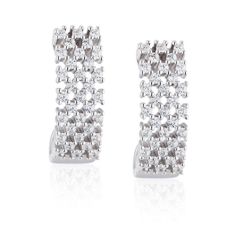 Paul Costelloe Jewellery Sterling Silver Contemporary Crystal Mesh Earrings-PC3071 - Diana O'Mahony Jewellers