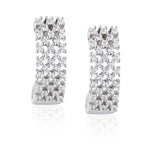 Paul Costelloe Jewellery Sterling Silver Contemporary Crystal Mesh Earrings-PC3071