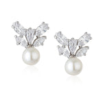 Paul Costelloe Jewellery Sterling Silver Fancy Pearl Cluster Bridal Stud Earrings-PC3108