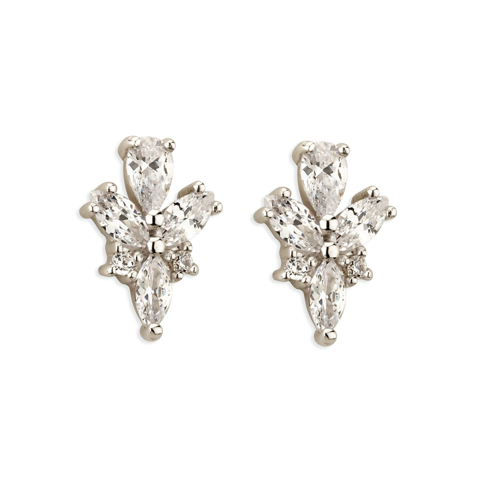 Paul Costelloe Jewellery Sterling Silver Vintage Style Pear Marquise Cluster Bridal Stud Earring-PC3121